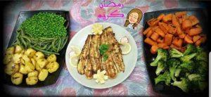 سمك فيليه محمر بالتوابل ورقايق البطاطس مع سوتيه الخضاربالزبد ورز الخضار رووعه
